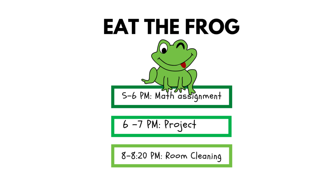 Eat the frog to manage time for teenager